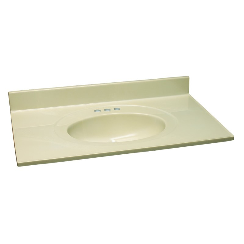 31x19 Vanity Top With Sink: Design House 551093 White On Bone Cultured Marble Single