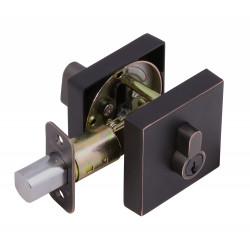 Design House Square Single Cylinder Deadbolt, Oil Rubbed Bronze Finish