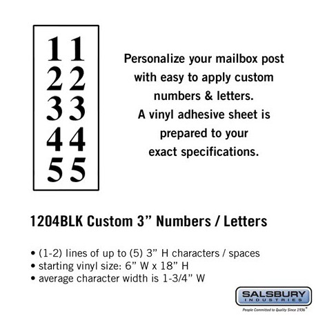 """Salsbury Custom Numbers / Letters - 3"""", Vertical"""