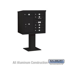 "Salsbury 4C Pedestal Mailbox (Includes 26"" High Pedestal and Master Commercial Locks) - Unit (55-1/8"") - Double Column - 6 MB1 D"