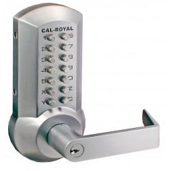 Cal-Royal CRCODE-200 Series, Grade 2 Mechanical Push Button Lock and Exit Device Trim with Breakaway Lever Feature