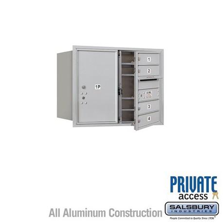 "Salsbury 4C Horizontal Mailbox Unit (23-1/2"") - Double Column - 4 MB1 Doors / 1 PL6"