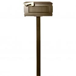 QualArc HPST1 Hanford Single Post System with Lewiston Mailbox and Bronze Finish