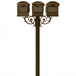 QualArc HPWS3 Hanford Triple Post System with Lewiston Mailboxes, Scroll Support and Bronze Finish