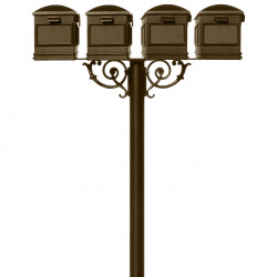 QualArc HPWS4 Hanford Quad Post System with Lewiston Mailboxes, Scroll Support and Bronze Finish