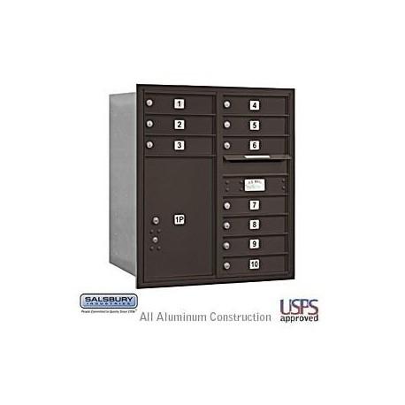 "Salsbury 4C Horizontal Mailbox Unit (34"") - Double Column - 1 MB1 Door / 3 MB3 Doors / 1 PL6"