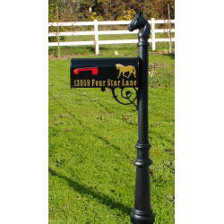 QualArc LPST Lewiston Equine Post with Support Bracket, E1 Economy Mailbox and Locking Insert Option