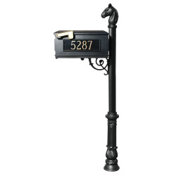 QualArc LMCV Lewiston Equine Mailbox with Vinyl Numbers and Post