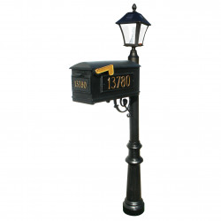 QualArc LMCV Mailbox with Vinyl Numbers, Post and Bayview Solar Lamp