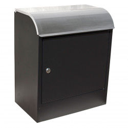 QualArc WF-PB018 Winfield Selma Locking Mail & Parcel Box, Black with Stainless Steel