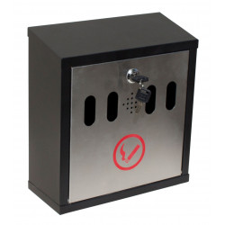 QualArc WF-8022 Winfield Hayward Wall Mount Cigarette Ash Receptical, Black with Stainless Steel