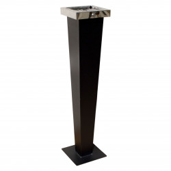 QualArc WF-PS08S Winfield Huron Free Standing Cigarette Ash Receptical, Black with Chrome