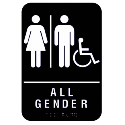 Cal Royal AGH-69 All Gender Restroom Signs with Men, Women, and Handicap Logo (ADA) with Braille