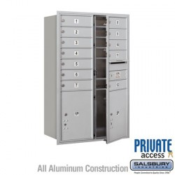 "Salsbury 4C Horizontal Mailbox Unit (44-1/2"") - Double Column - 12 MB1 Doors / 2 PL5's"
