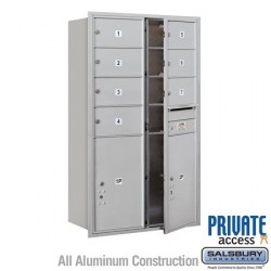 "Salsbury 4C Horizontal Mailbox Unit (51-1/2"") - Double Column - 7 MB2 Doors / 2 PL6s"