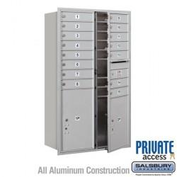 "Salsbury 4C Horizontal Mailbox Unit (51-1/2"") - Double Column - 15 MB1 Doors / 1 PL5 and 1 PL6"