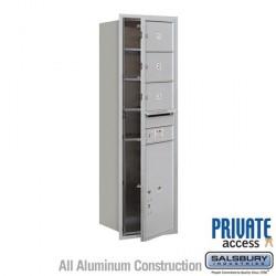 "Salsbury 4C Horizontal Mailbox Unit (51-1/2"") - Single Column - 3 MB2 Doors / 1 PL6"