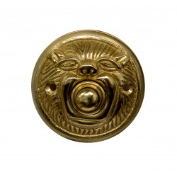 QualArc DB-1006-PB Whimsical Animal Face Round Doorbell Button Cover, Brass in Polished Brass