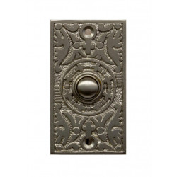 QualArc DB-1008 Ornate Rectangle Doorbell Button Cover, Brass
