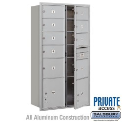 "Salsbury 4C Horizontal Mailbox Unit (56-3/4"") - Double Column - 1 MB2 Door / 6 MB3 Doors / 2 PL's"
