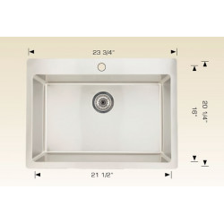 American Imaginations AI-27690 23.75-in. W CSA Approved Chrome Kitchen Sink With Stainless Steel Finish And 18 Gauge