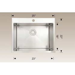 American Imaginations AI-27603 25-in. W CSA Approved Chrome Laundry Sink With Stainless Steel Finish And 16 Gauge