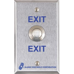 "Alarm Controls TS Weatherproof, DPDT 2A Momentary Contacts, ""PUSH TO ENTER"", Rated to IP65, Single Gang, Stainless Steel Wall Plate"