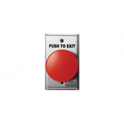 "Alarm Controls TS ""PUSH TO EXIT"" Button, Single Gang, Stainless Steel Wall Plate, 1 N/O & 1 N/C Contact Momentary Switch, Red Mushroom"