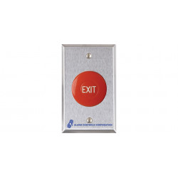 "Alarm Controls TS 1-1/2"" Round Red Mushroom Button, Engraved ""EXIT"", White Fill, 1 N/O & 1 N/C, 10A Contact, Single Gang, Stainless Steel Wall Plate"