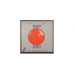 "Alarm Controls TS ""EXIT"" Button, Double Gang, Stainless Steel Wall Plate, 1 N/O & 1 N/C Contact Momentary Switch, Red Mushroom"