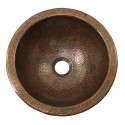 """Copper Factory CF147 Solid Hand Hammered Copper Small Round Self Rimming Lavatory Sink 12 Diameter x 5 H, Drain Size 1 5/8"""""""