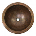 """Copper Factory CF149 Solid Hand Hammered Copper Medium Round Self Rimming Lavatory Sink 15 Diameter x 7 H, Drain Size 1 5/8"""""""