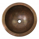 """Copper Factory CF151 Solid Hand Hammered Copper Large Round Self Rimming Lavatory Sink 17 Diameter x 7 H, Drain Size 1 5/8"""""""
