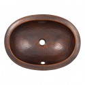 """Copper Factory CF153 Solid Hand Hammered Copper Oval Self Rimming Lavatory Sink 21W x 15 1/2D x 5H, Drain Size 1 5/8"""""""