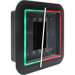 Camden CM-55i Double Gang/Square Mounting Box, Flame/impact Resistant Black Polymer (ABS), (Illuminated Red/green/blue)