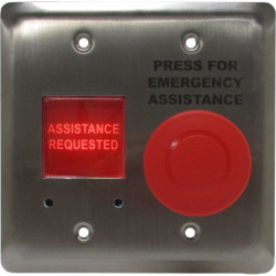 Camden CM-AF540SO Stainless Steel Faceplate, Emergency Call System Component, Push/Pull Mushroom Push Button, Red