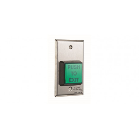"""Alarm Contorls TS-2-2 2"""" Square Green IIIuminated Push Button Two Switches Request to Exit Station"""