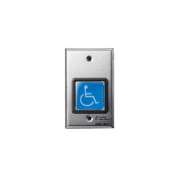 "Alarm Contorls TS-4-2 2"" Square Blue IIIuminated Push Button ""ADA"" Symbol""Two Switches Request to Exit Station"