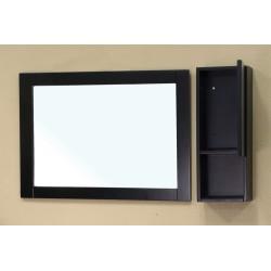 "Bellaterra 203129 Side Cabinet - Wood - Black - Mirror:30.5x1x23.6, Cabinet: 8.8x5.5x23.6"""