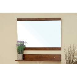 "Bellaterra 203138 Solid Wood Frame Mirror Cabinet - Walnut - 43.3x5x33.5"""