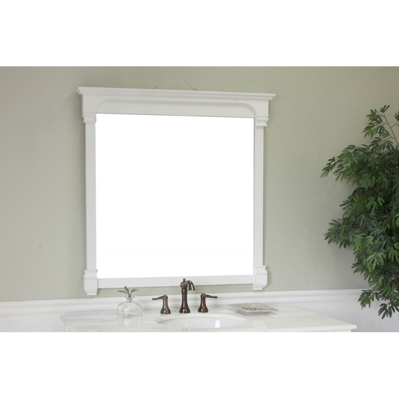 Bellaterra 205050 42 in solid wood frame mirror white - White wood framed bathroom mirrors ...
