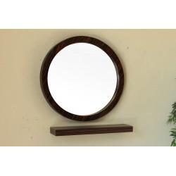 """Bellaterra 804338 21.7 In Round Mirror - Wood - Ebony - Zebra - 21.7x2.4x21.7"""""""