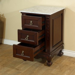 Bellaterra 202016A Marble Top Side Chest-Wood-Walnut-White Marble - 19.5x18.5x33.5""