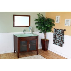 Bellaterra 202140 39.4 In. Single Sink Vanity-Wood-Walnut - 39.4x22x36""