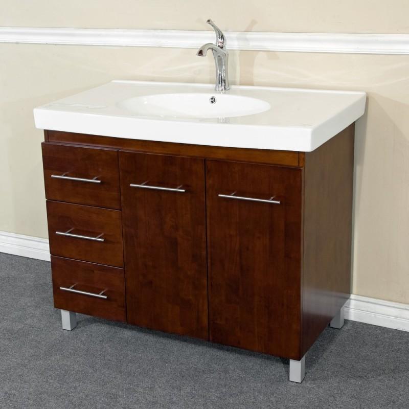 """Bellaterra 203129 39 In Single Sink Vanity-Wood-Walnut -Left Side Drawers - 39.6x18.9x36"""""""
