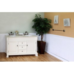Bellaterra 205060 60 In Double Sink Vanity-Wood-Cream White - 60x22.5x35.5""