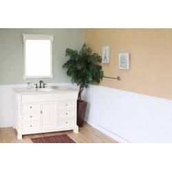 Bellaterra 205060 60 In Single Sink Vanity-Wood-Cream White - 60x22.5x35.5""