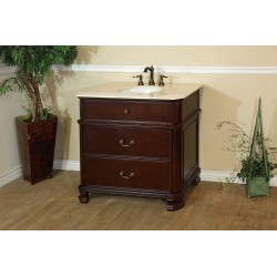 Bellaterra 600002 38 In Single Sink Vanity-Wood-Light Walnut - 38x22x36""