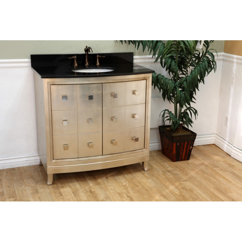 Bellaterra 600003 36 in single sink vanity wood bronze for Bronze and silver bathroom accessories