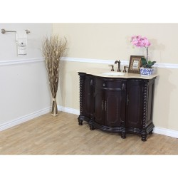 Bellaterra 600161 48 In Single Sink Vanity-Wood-Dark Mahogany-Creama Marfil - 48x22x36""
